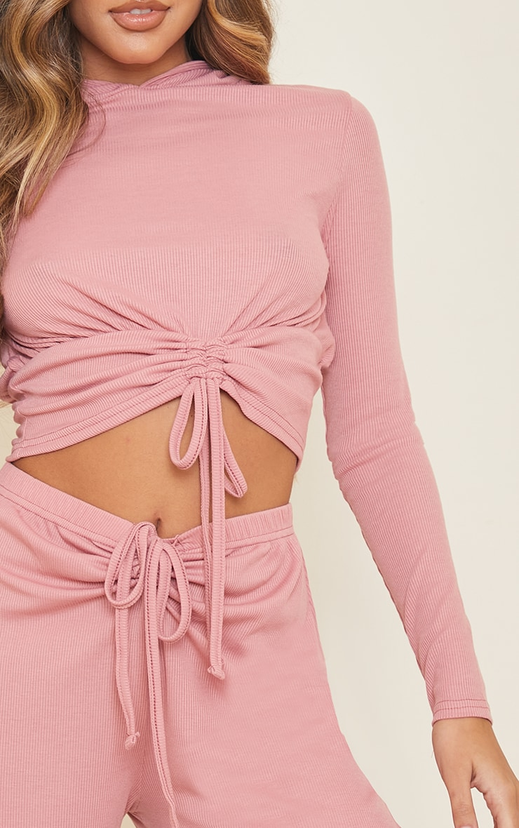 Blush Ribbed Ruched Tie Front Hooded Top 4