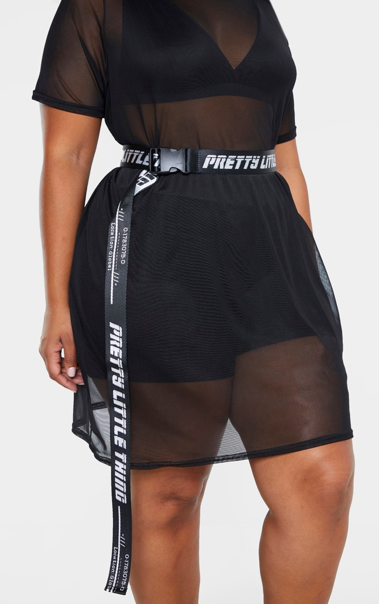 PRETTYLITTLETHING Plus Black Reversible Taping Belt 1