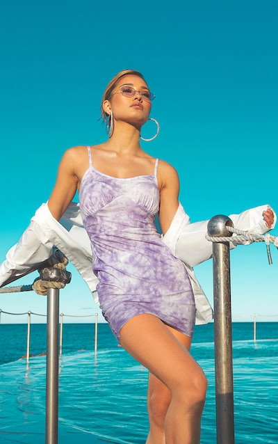Purple Tie Dye Bust Binding Detail Bodycon Dress
