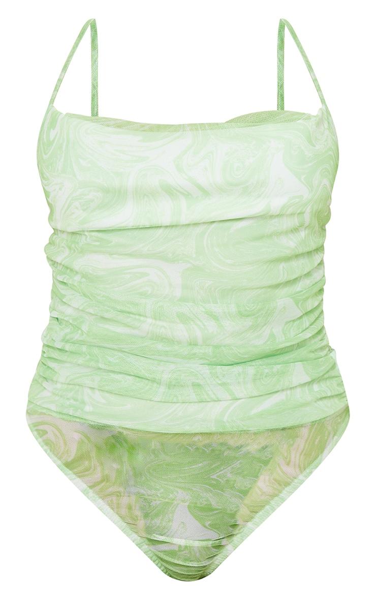 Petite Green Marble Print Mesh Cowl Neck Strappy Bodysuit 5