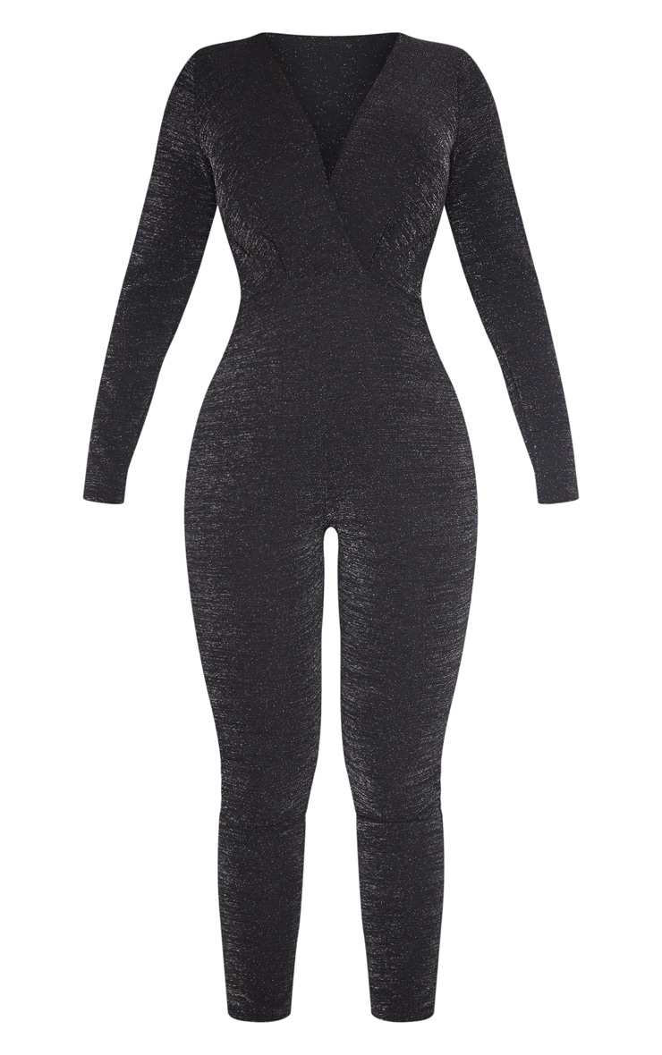 Black Glitter Plunge Long Sleeve Jumpsuit 3