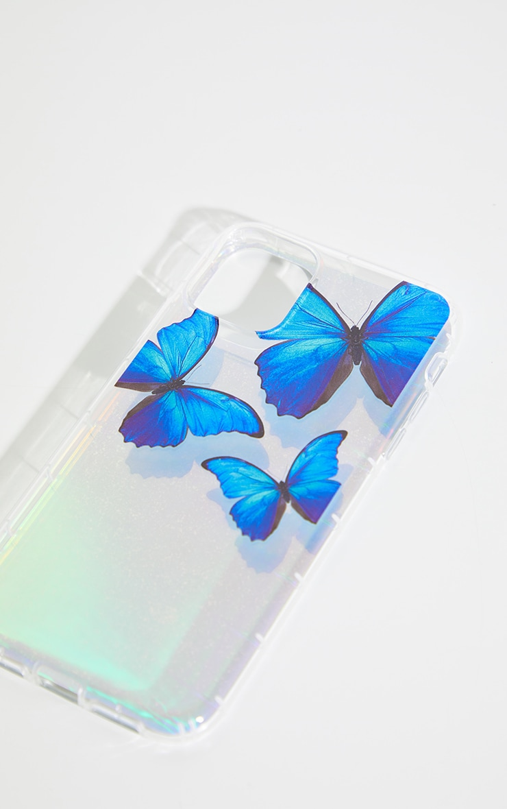 Silver Iridescent Blue Butterfly Iphone 11 Phone Case 2