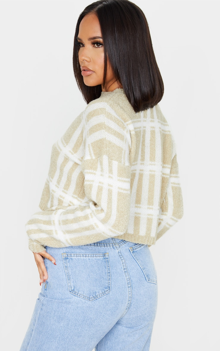 Stone Check Boucle Cropped Jumper 2