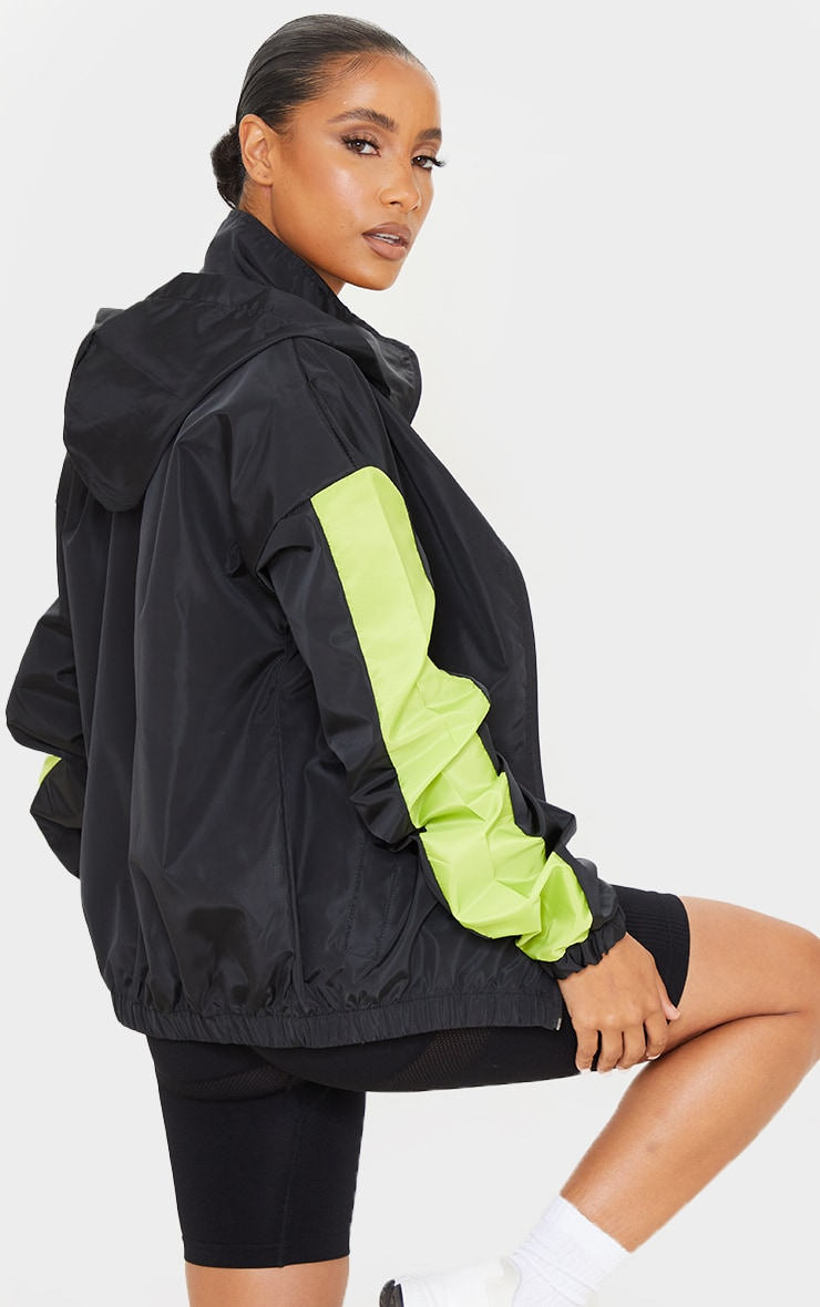 Black Shell Colour Panel Sleeve Hooded Tracksuit Jacket 2
