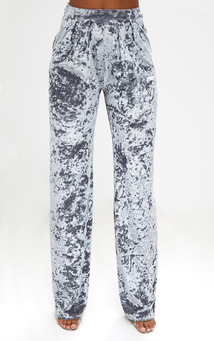 Silver Crushed Velvet Wide Leg Suit Trousers 2