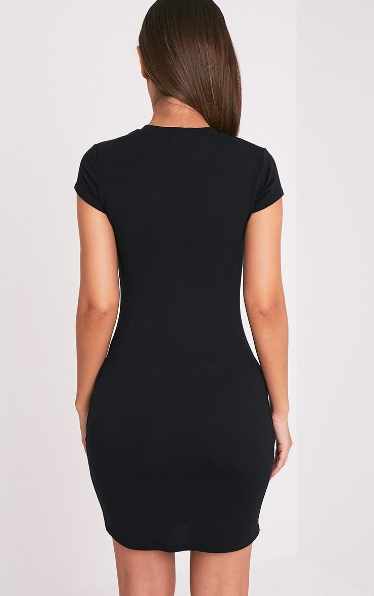 Tori Black Short Sleeve Bodycon Dress 2