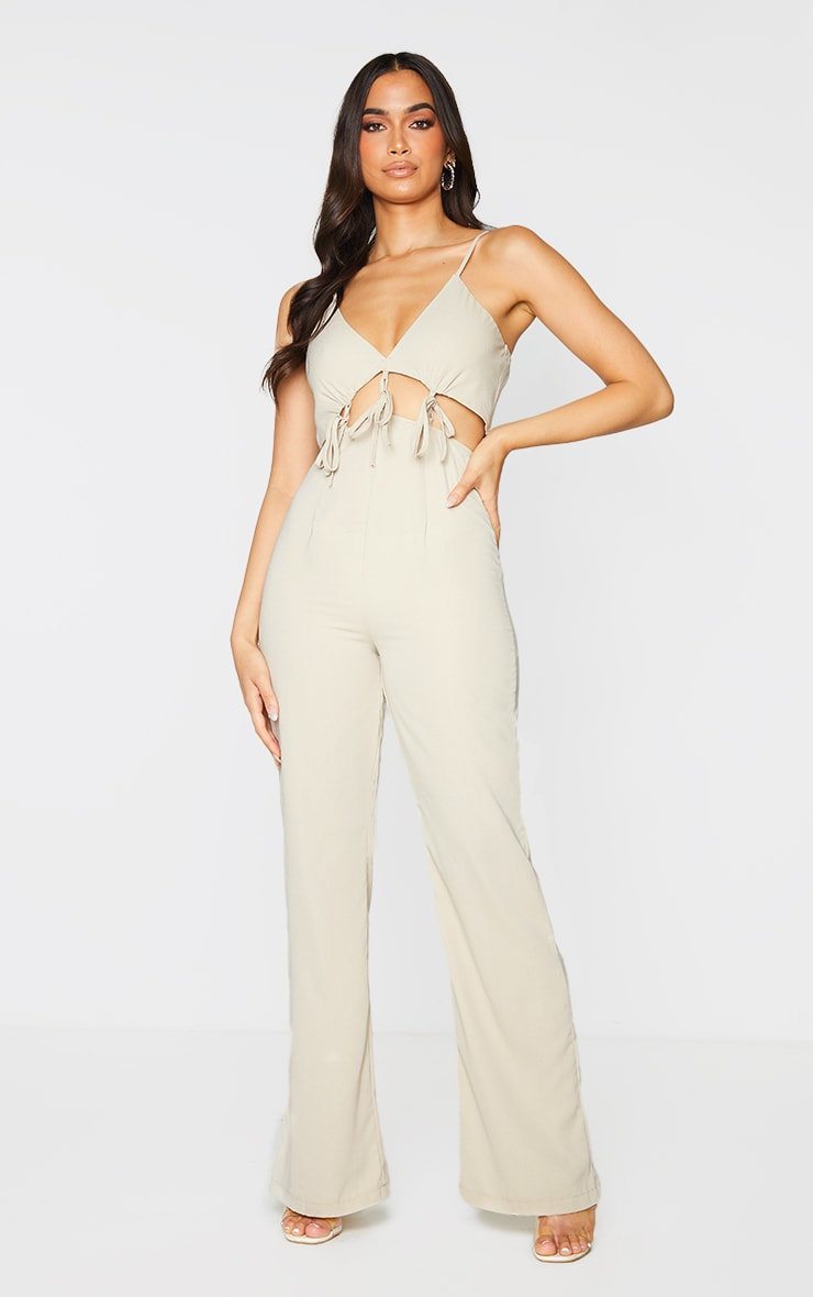 Stone Cut Out Tie Detail Strappy Jumpsuit 1
