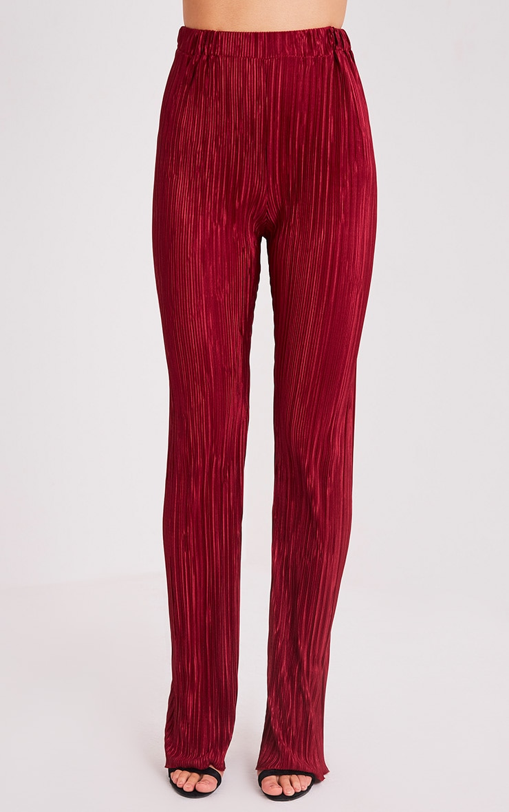 Follie Wine Pleated High Waisted Trousers 2