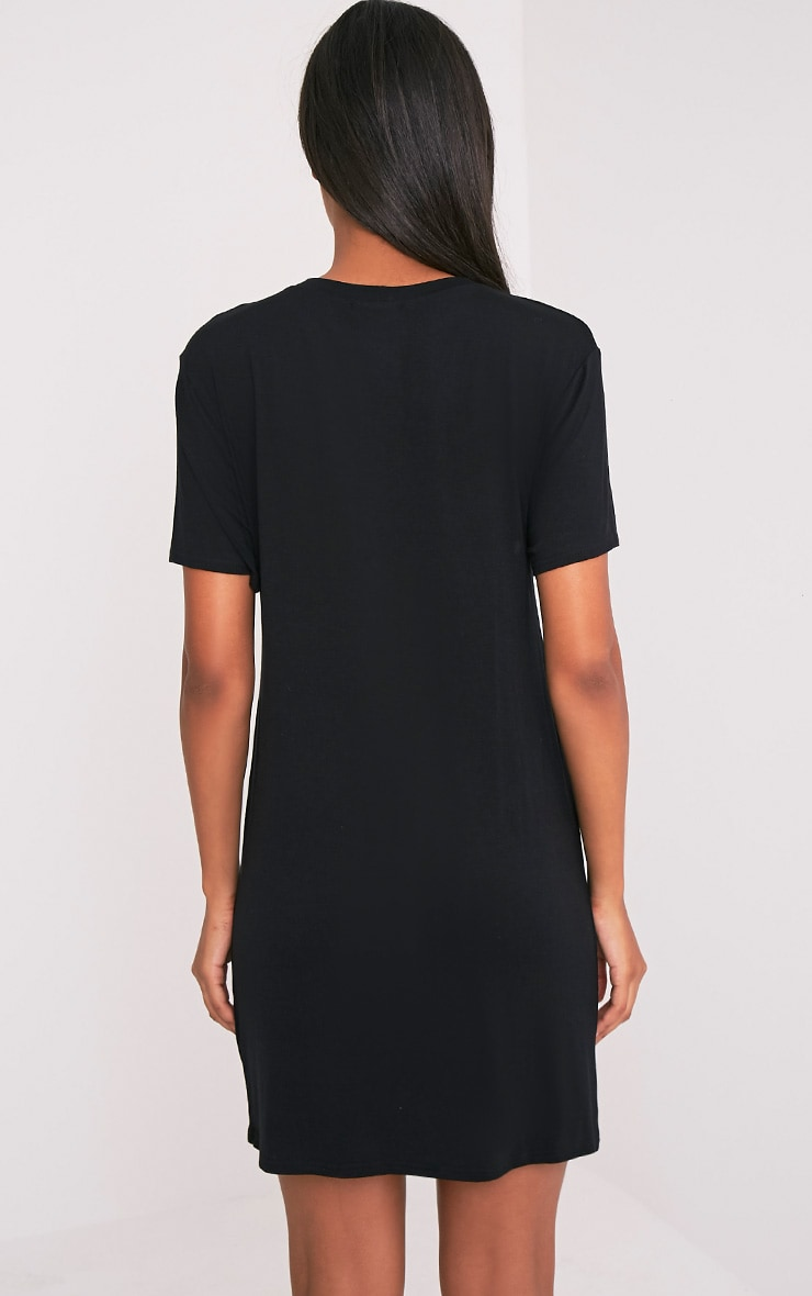 1980's Printed Black T Shirt Dress 2