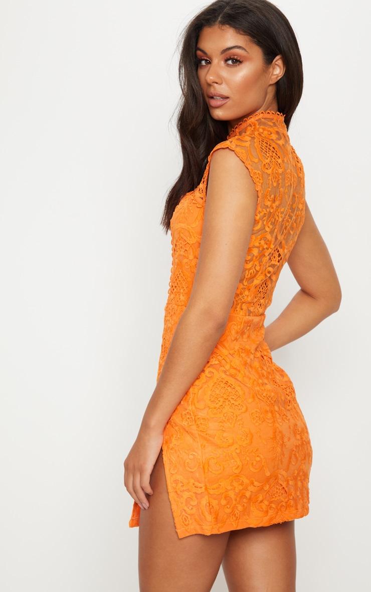 Tangerine Lace High Neck Split Leg Bodycon Dress 2