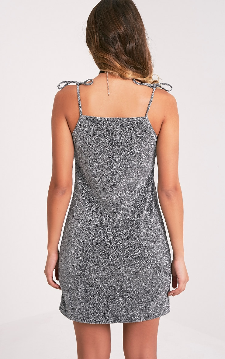 Kymberley Silver Tie Strap Glitter Lurex Shift Dress 2