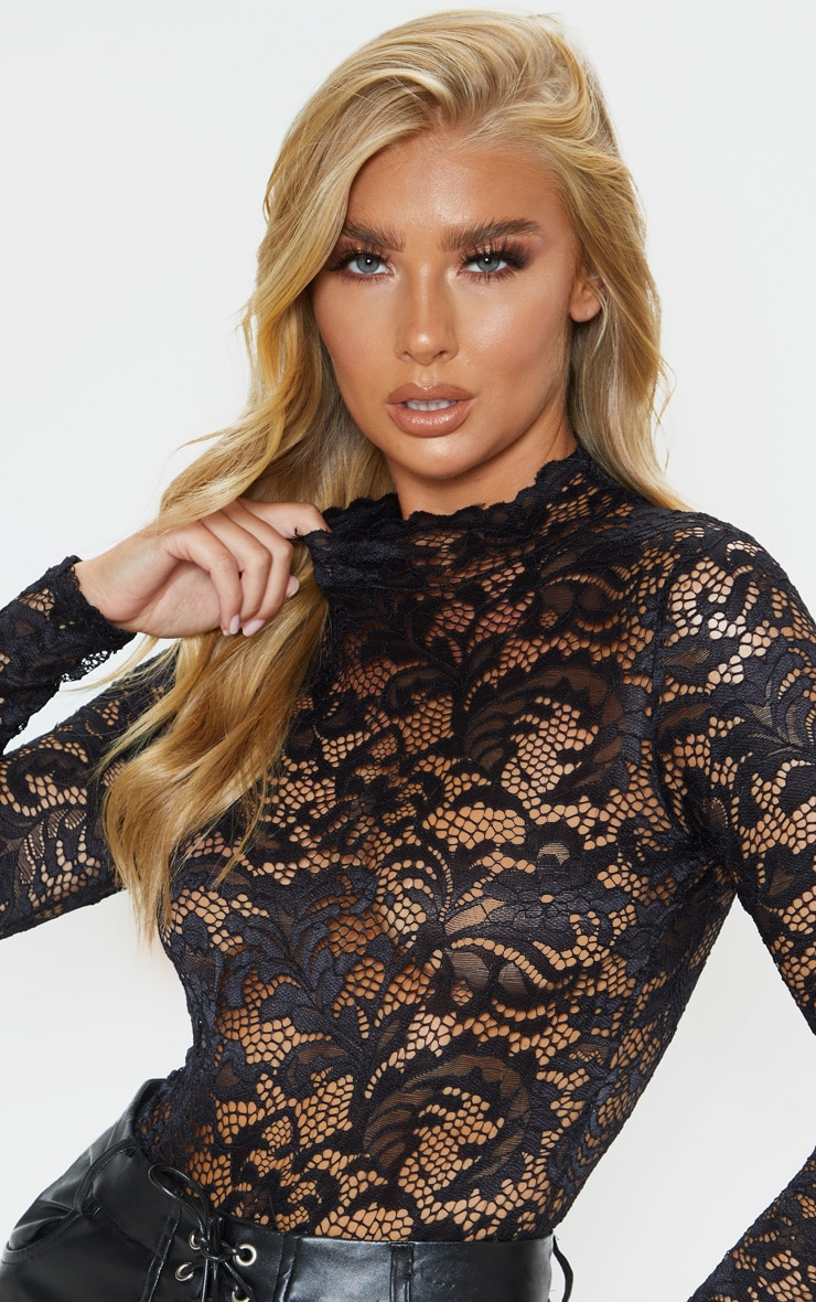 Black Sheer Lace Scallop Detail Bodysuit 6