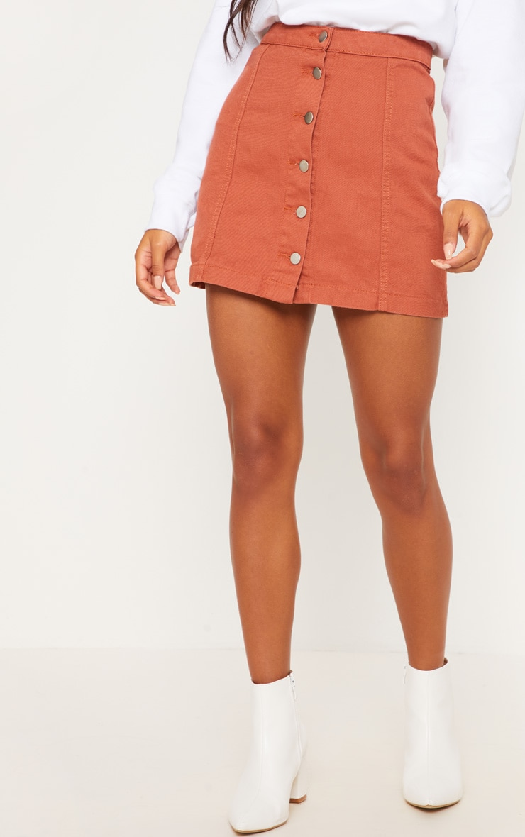 Tobacco Cammie Button Through Denim Skirt 2
