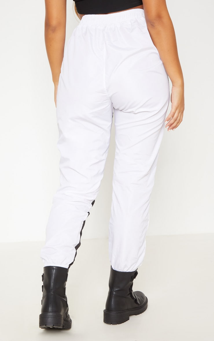 White Contrast Panel Zip Detail Shell Jogger 4