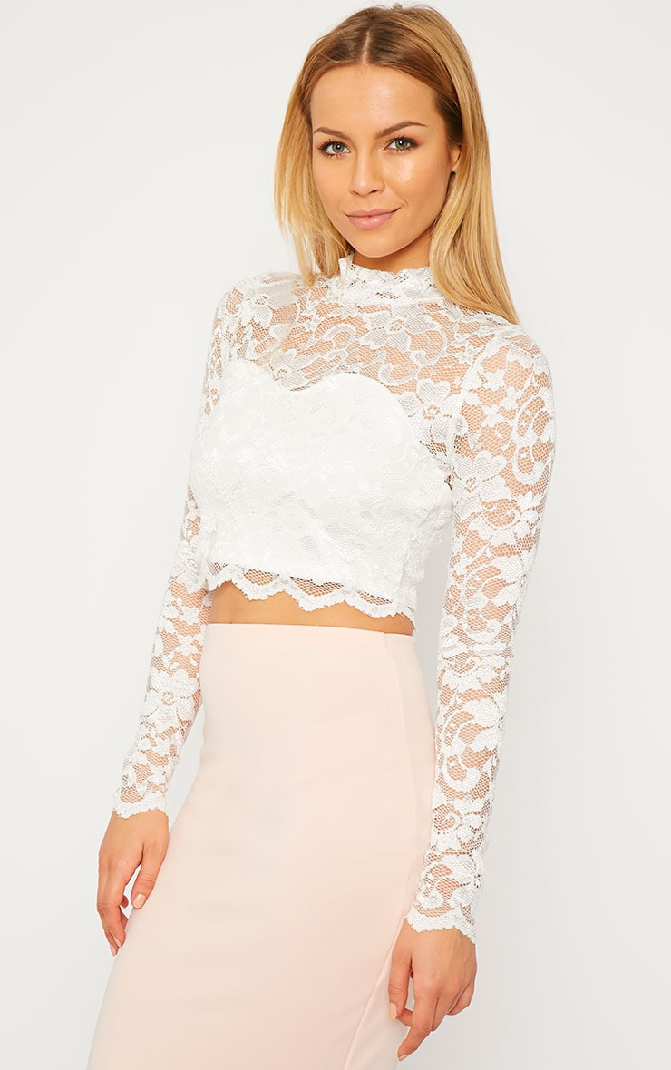 Rachel Cream Lace Turtle Neck Crop Top 1