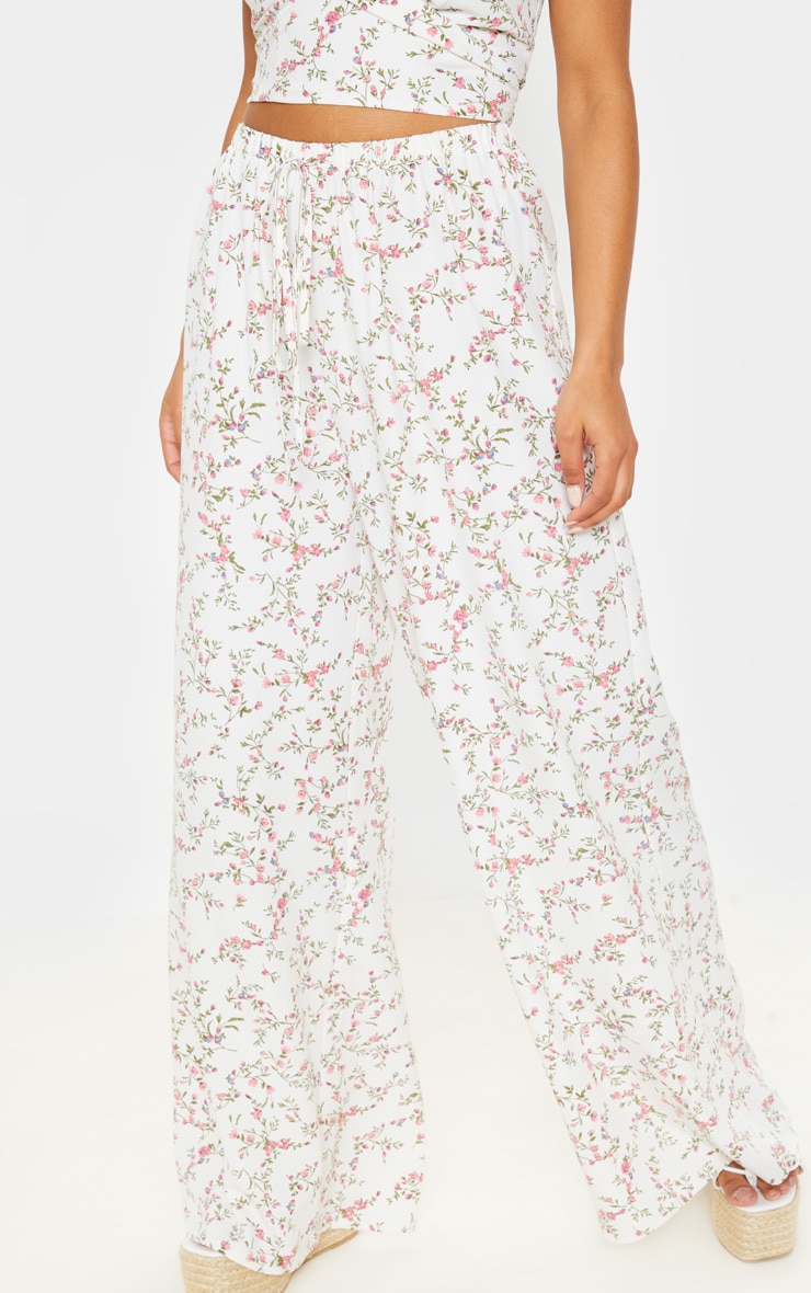 White Ditsy Floral Wide Leg Pants 2