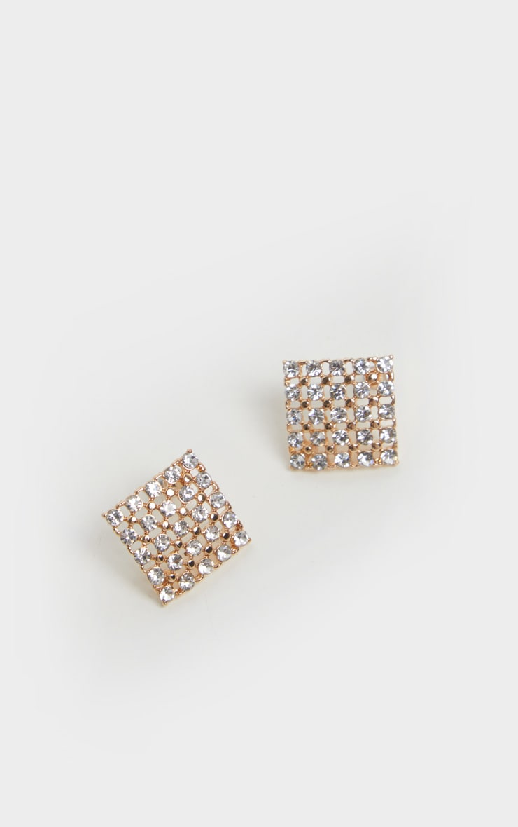 Gold Diamante Square Stud Earrings 2