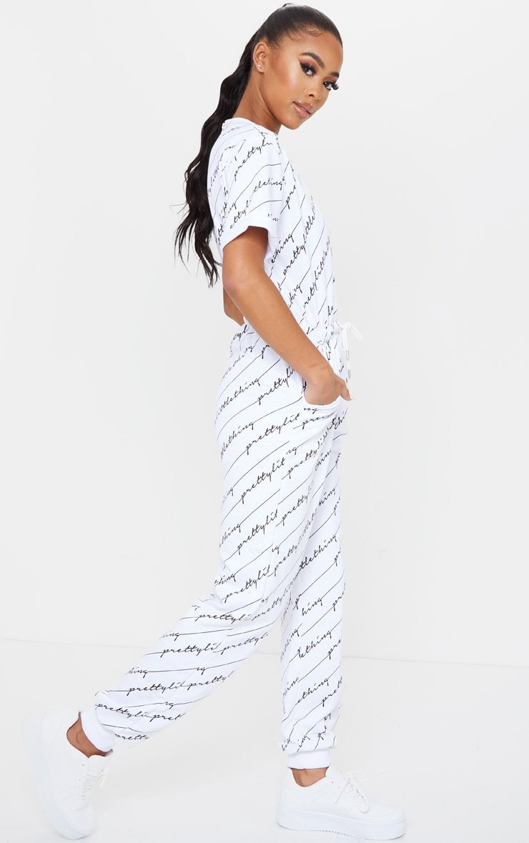 PRETTYLITTLETHING White Short Sleeve Sweat Jumpsuit 3
