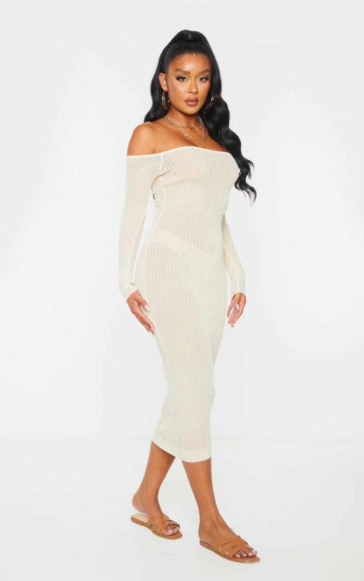 Stone Sheer Knit Bardot Midi Dress 4