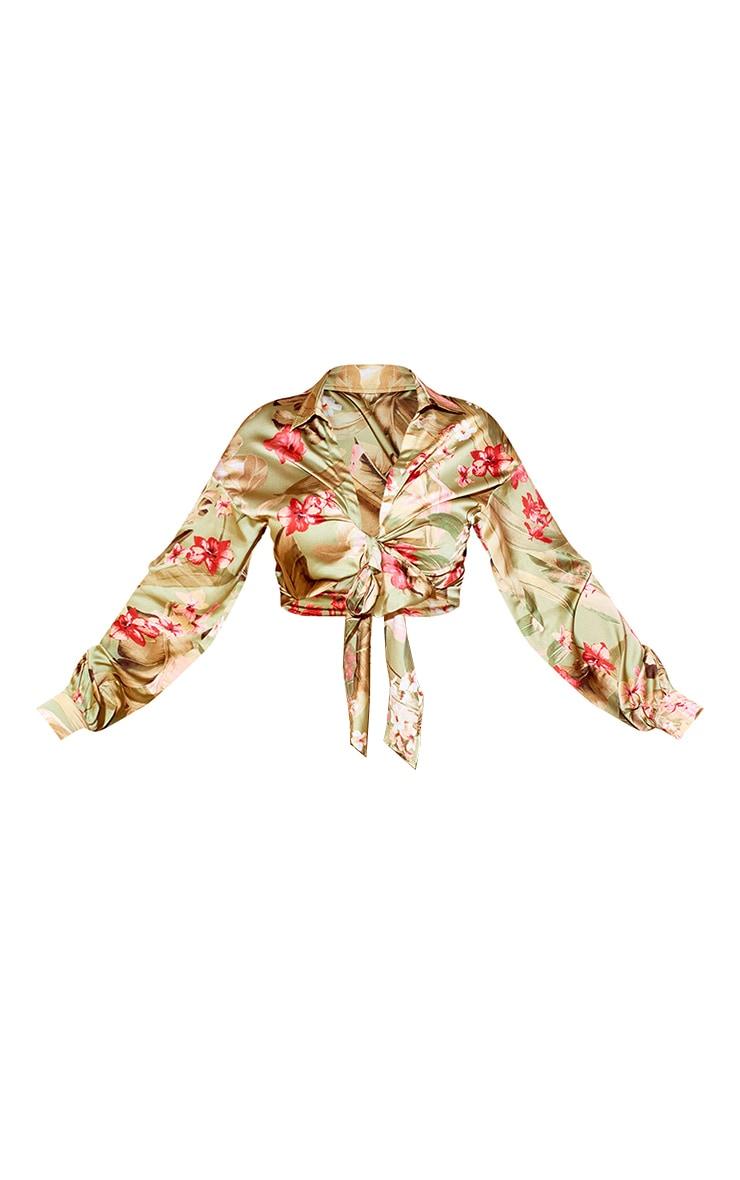 Plus Sage Green Satin Floral Tie Front Blouse 5
