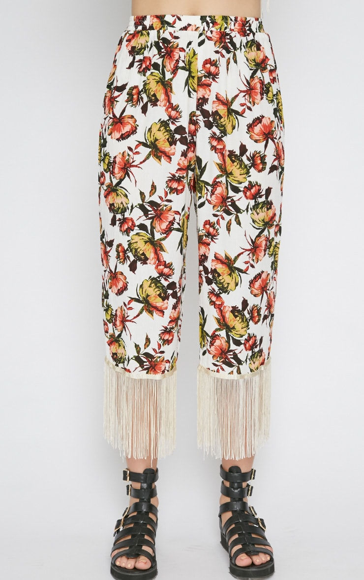Tyra White Floral Print Tassel Trousers  4