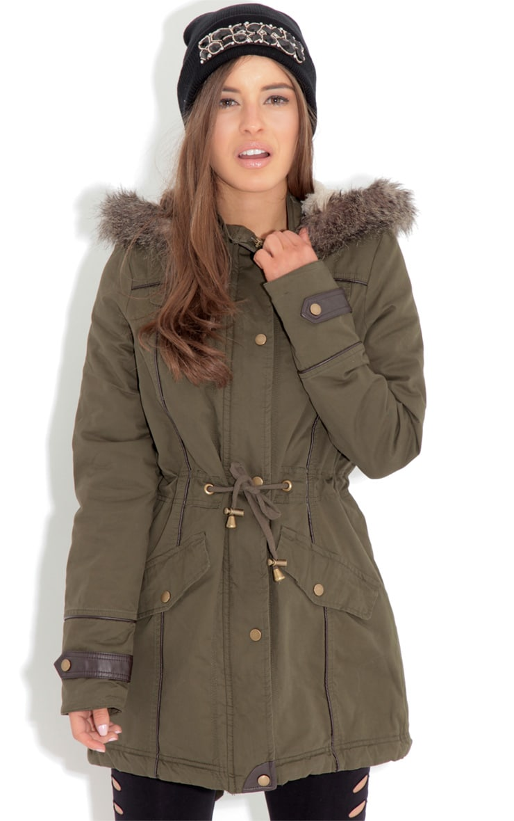 Alka Light Khaki Drawstring Parka 1