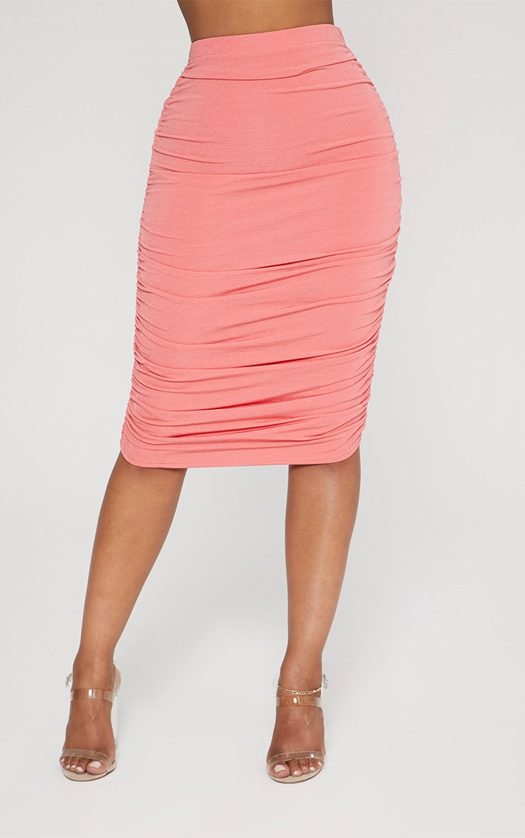Shape Coral Slinky Ruched Bodycon Skirt 2