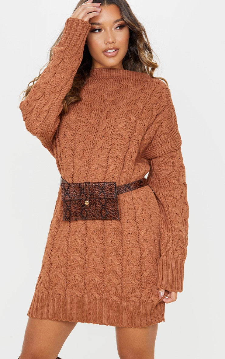 Tan Cable Detail Knitted Jumper Dress  1