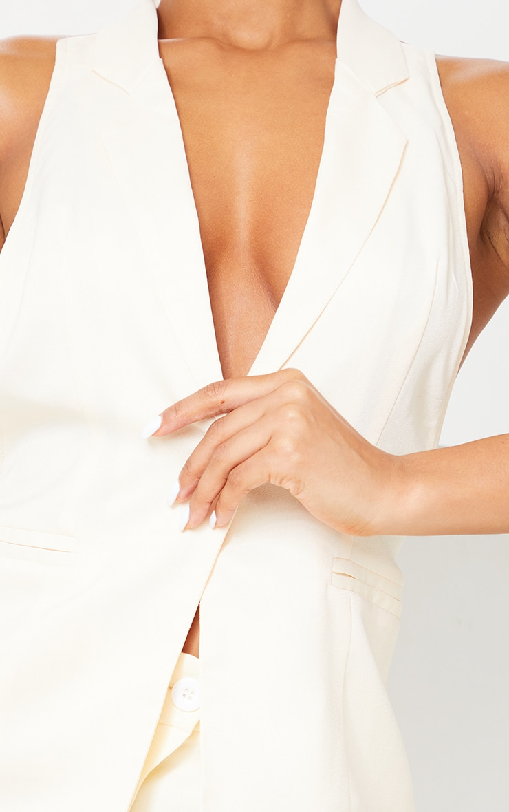 Cream Woven Sleeveless Waistcoat Detail Long Top 4