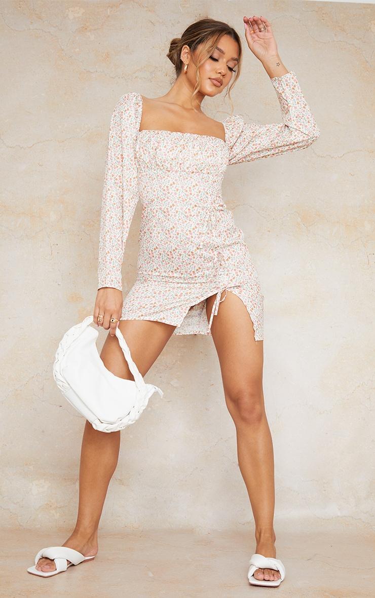 Cream Ditsy Print Bow Detail Side Split Bodycon Dress 3