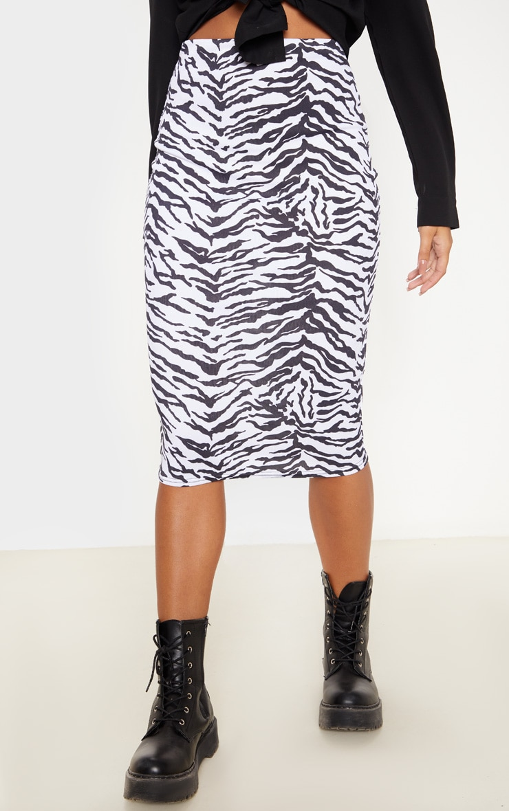 Monochrome Zebra Print Ribbed Midi Skirt  2