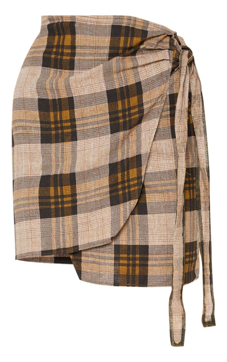 Brown Check Wrap Tie Skirt 3