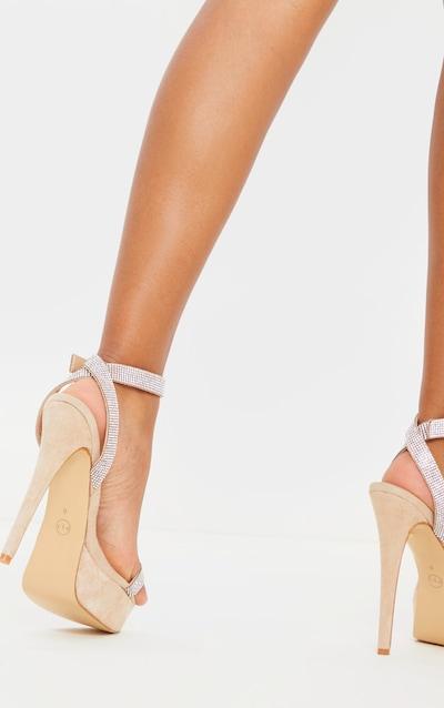 Nude Diamante Platform Strappy Sandal