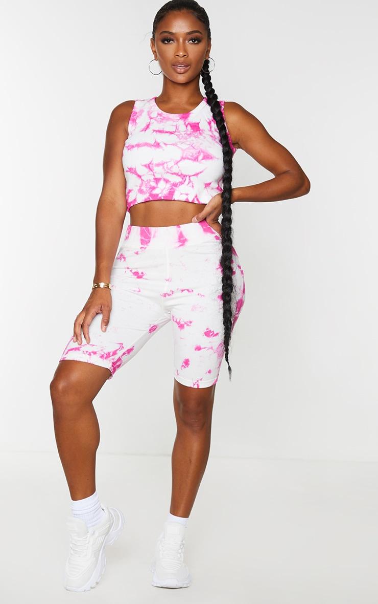 Shape Pink Tie Dye Cotton Bike Shorts 1