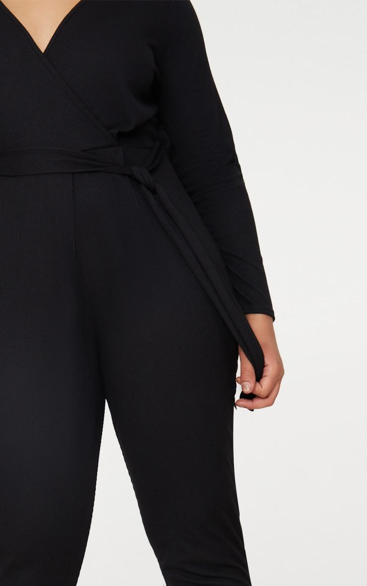 Plus Black Ribbed Wrap Front Jumpsuit 5