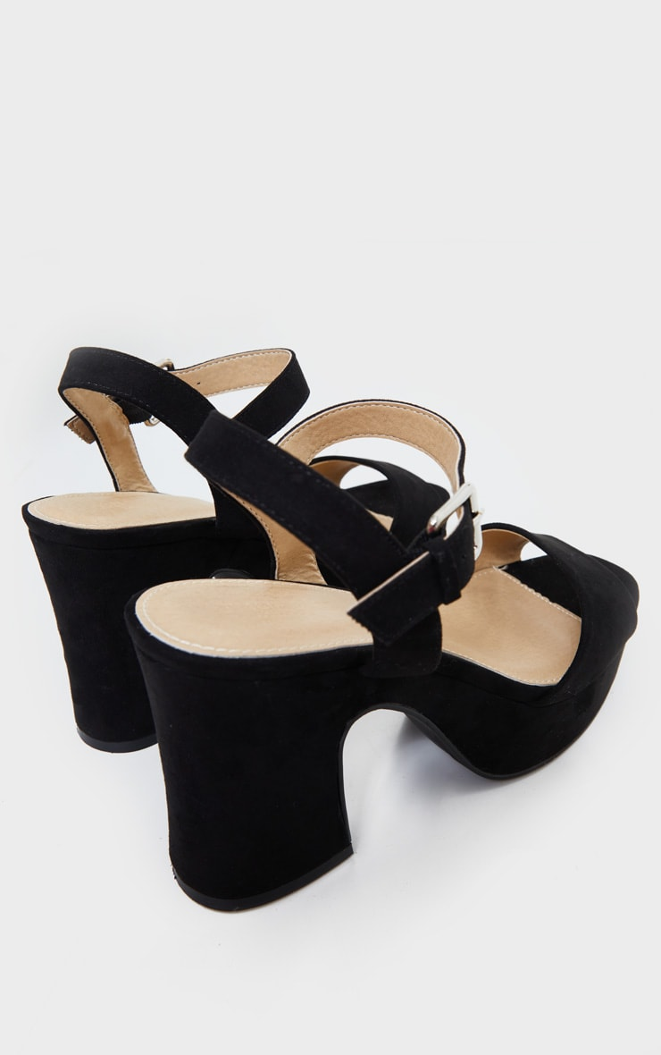Black Faux Suede Platform Block Heel Sandals 4