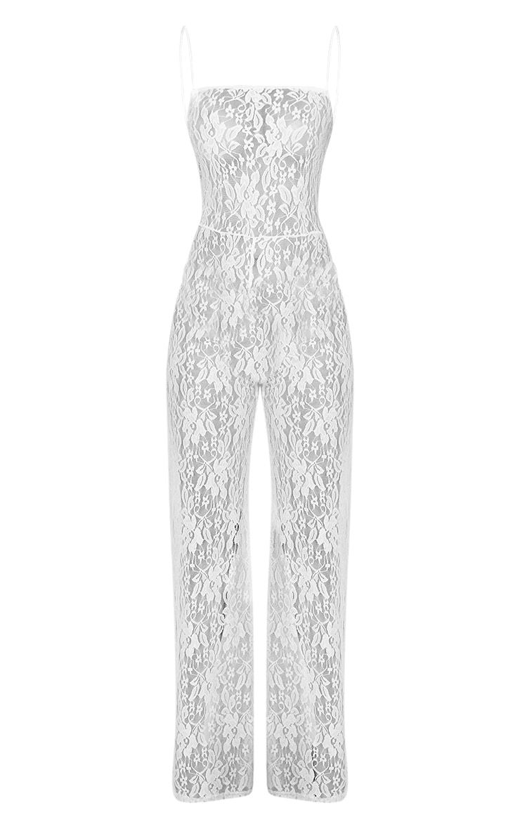 White Sheer Lace Strappy Jumpsuit 3