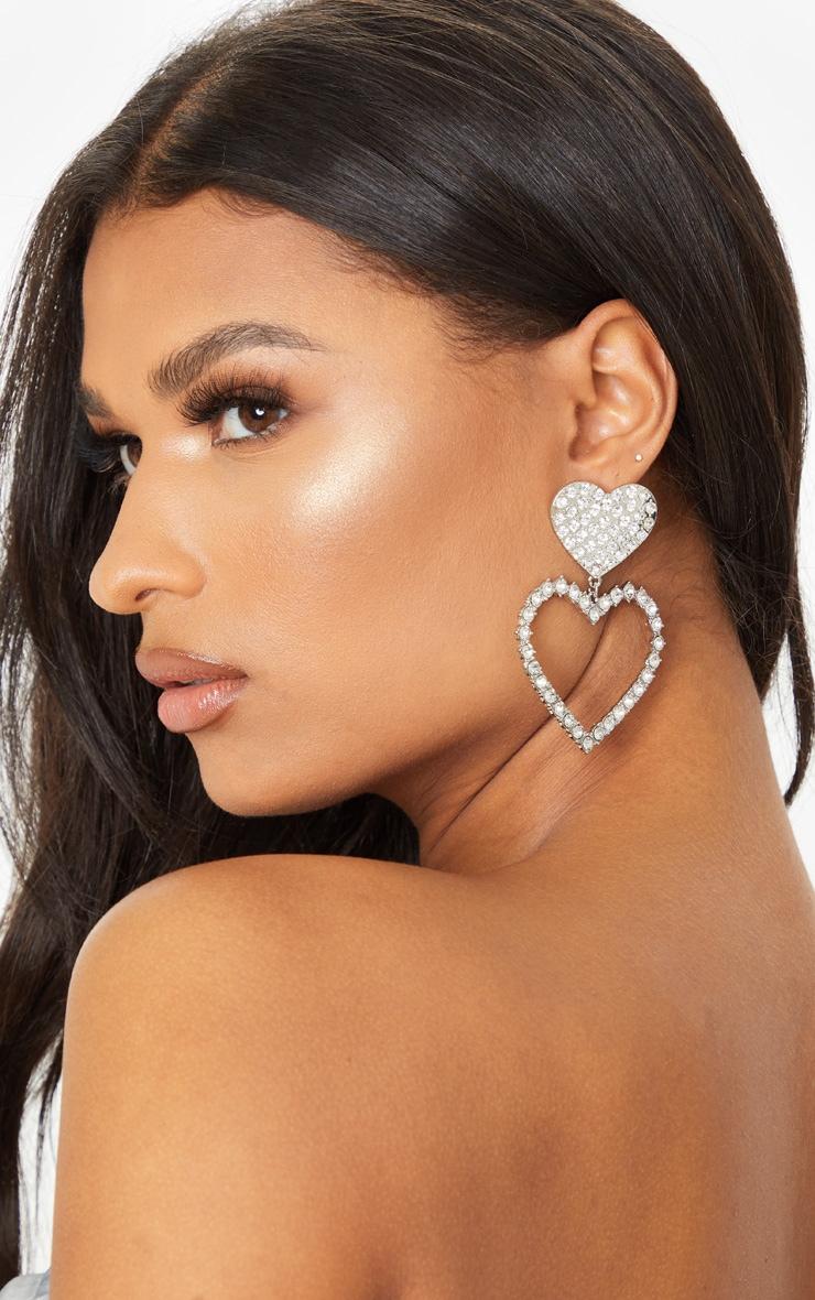 Silver Oversized Diamante Heart Earrings 1