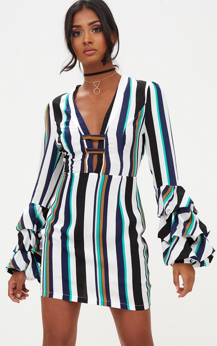 Green Striped Ruched Cuff Bodycon Dress 1