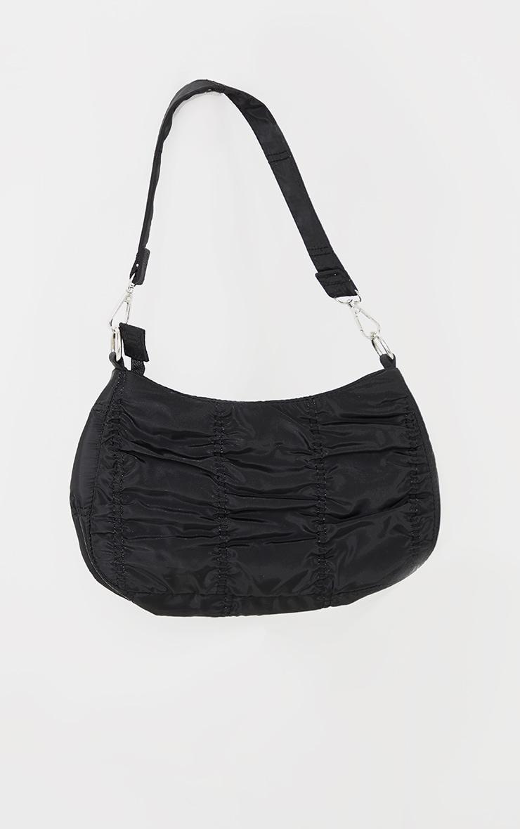 Black Small Ruched Shoulder Bag 2