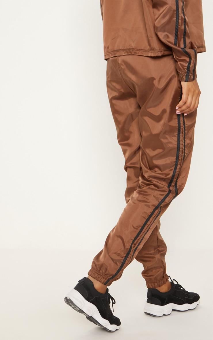 Chocolate Contrast Sport Stripe Shell Cuff Jogger 3