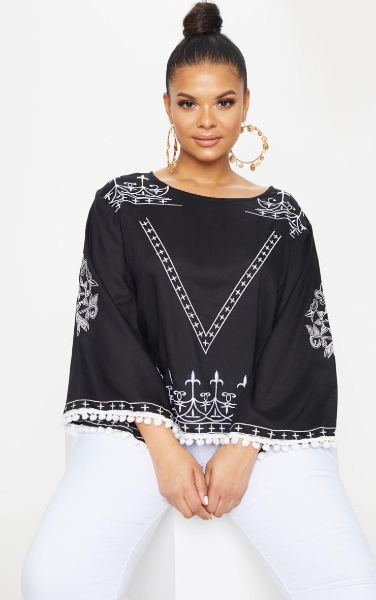 Plus Black Embroidered Pom Pom Trim Top 1