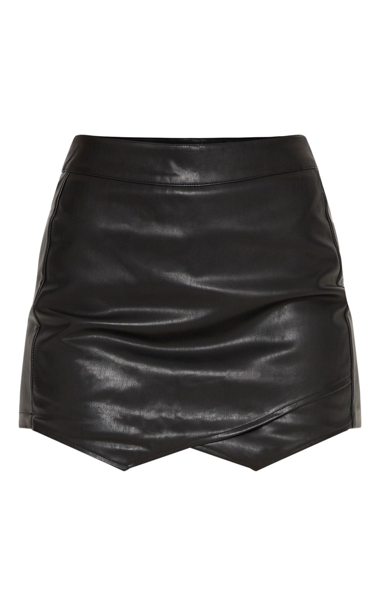 Black Faux Leather Skort  3