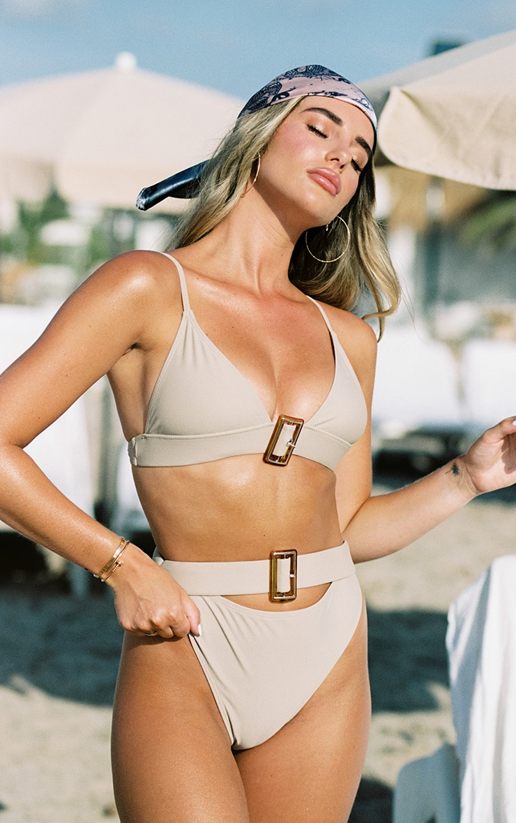 Sand Tortoise Belted Triangle Bikini Top 1