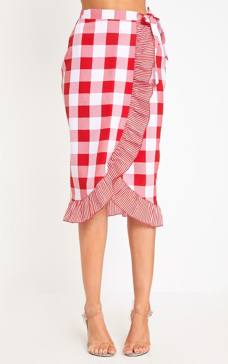 Red Contrast Frill Hem Gingham Midi Skirt 2