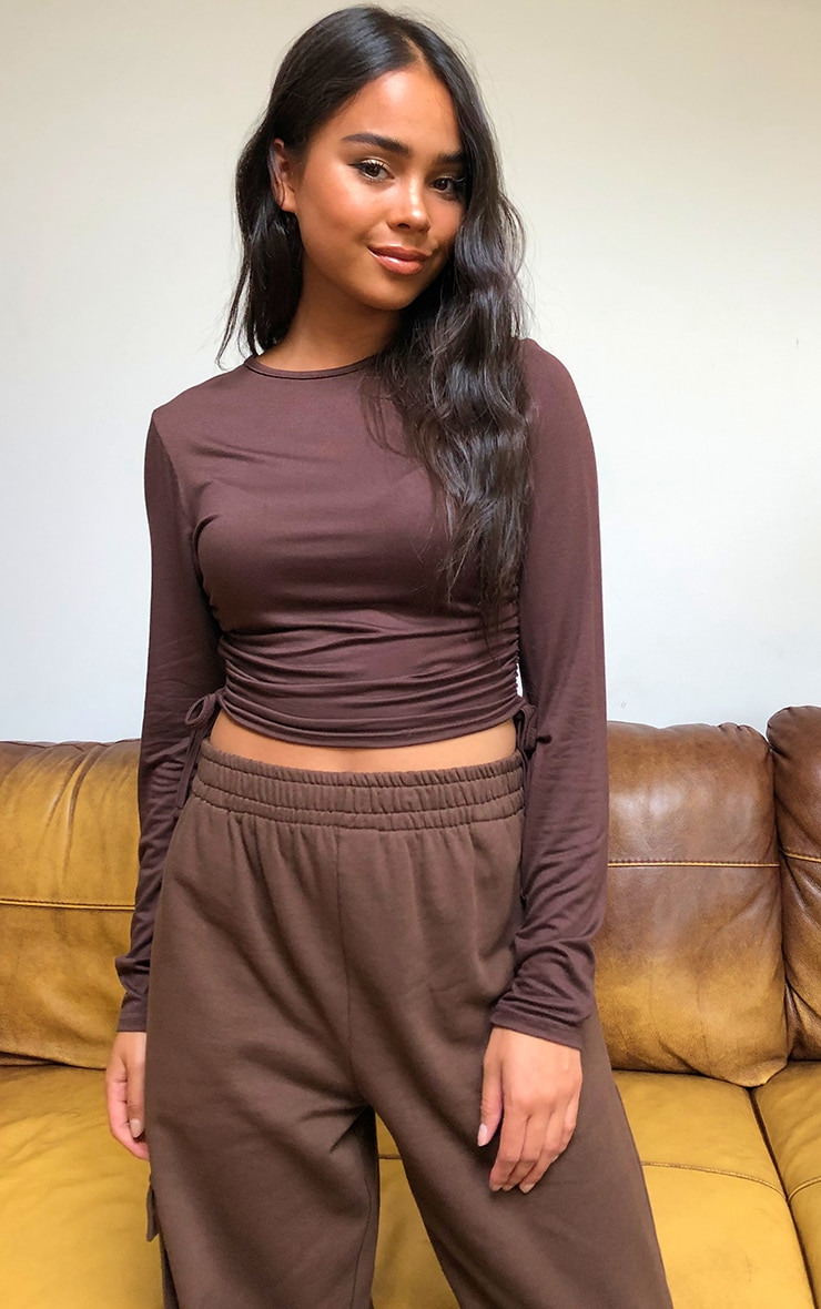 Chocolate Jersey Ruched Side Long Sleeve Crop Top 1