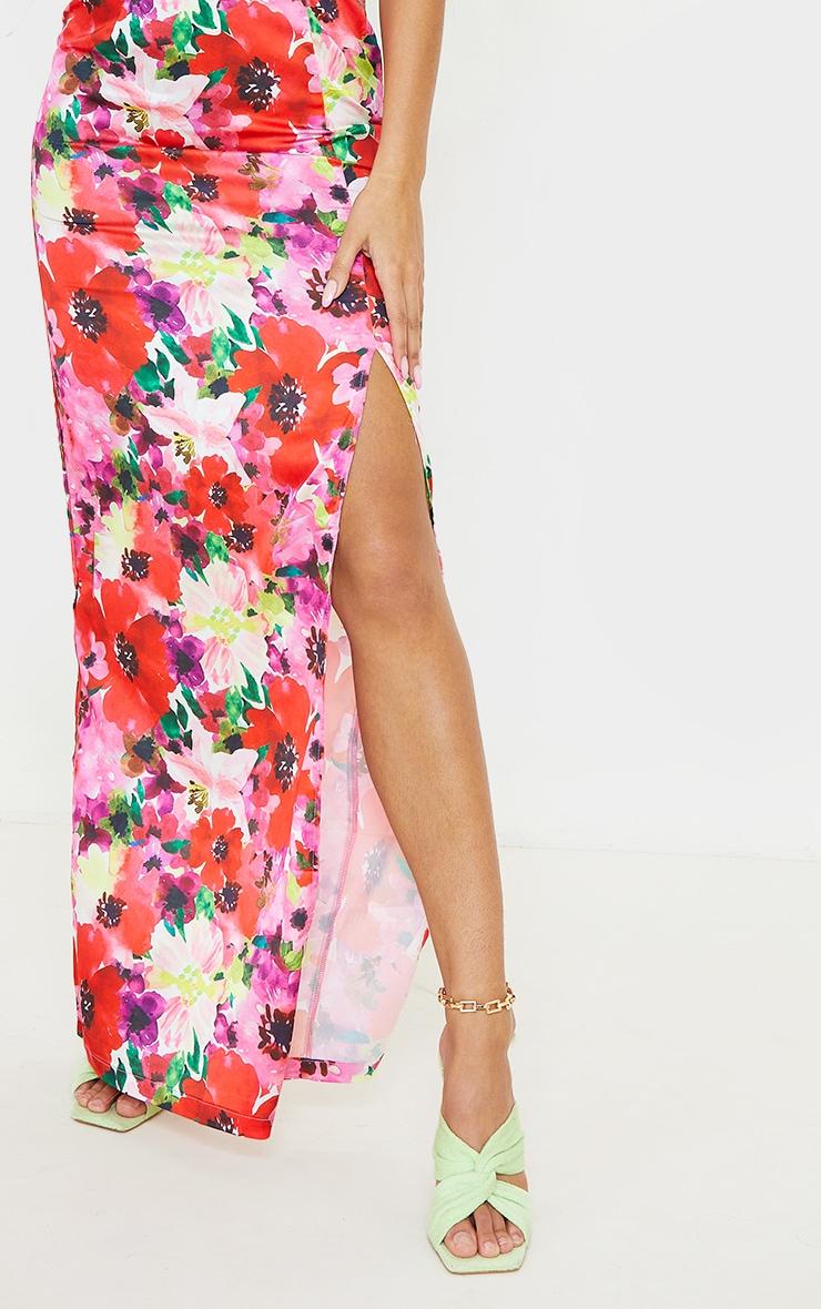 Multi Floral Satin Wrap Bardot Maxi Dress 4
