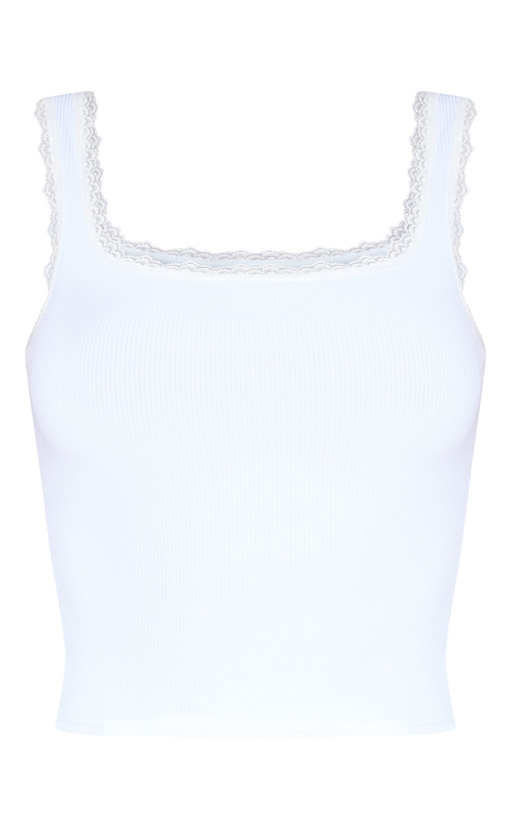 White Rib Lace Trim Vest 3