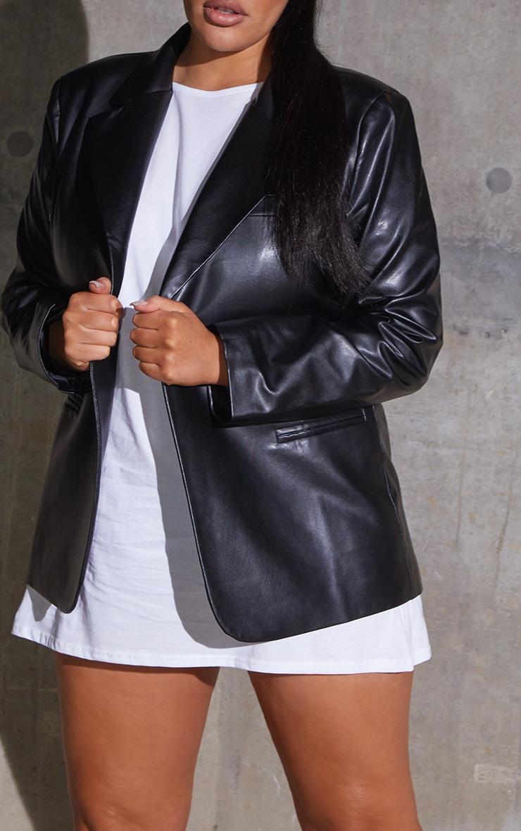 Plus Black Premium Faux Leather Blazer 4