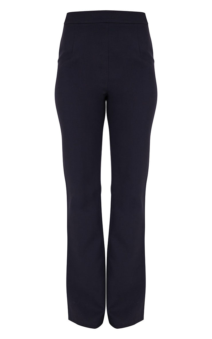 PRETTYLITTLETHING Black  Woven High Waisted Tailored Flare Trousers 5